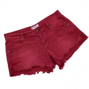 Free People Burgundy Raw Hem Cut Off Denim Shorts